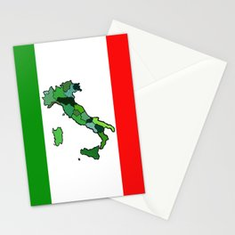 Map of Italy and Italian Flag Stationery Cards