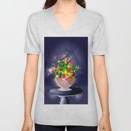 Ton und Blumen. Stilleben. Unisex V-Neck