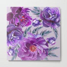 Violet and Purple Flowers Metal Print