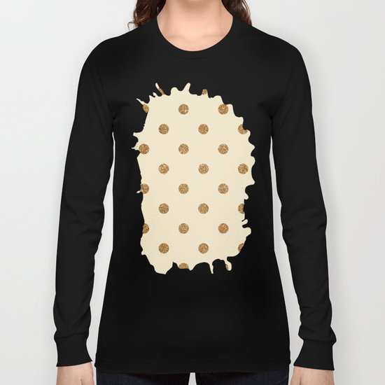 Cream Gold Glitter Dots Long Sleeve T-shirt