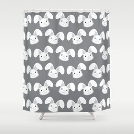 Cute White Bunny on Gray background Shower Curtain