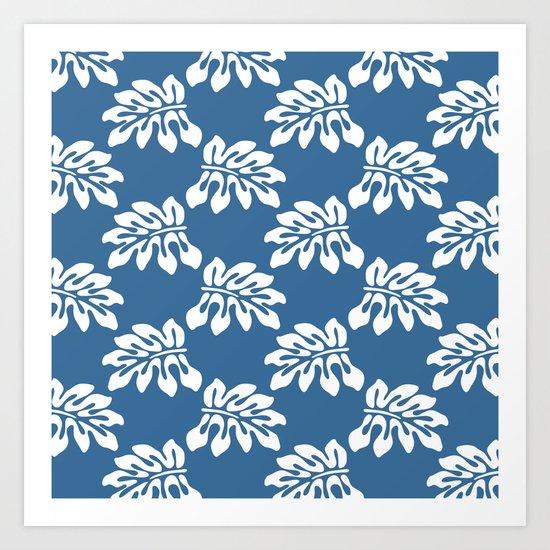 Blue White Tropical Leaf Pattern Art Print