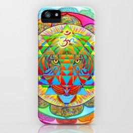 Inner Strength Psychedelic Tiger Sri Yantra Mandala iPhone Case