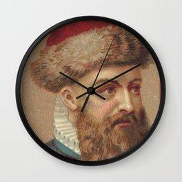 Vintage Johannes Gutenberg Illustration (1888) Wall Clock