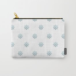 Blue Glitter Snowflake Carry-All Pouch