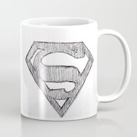 superman Mugs featuring Superman by Frances Roughton