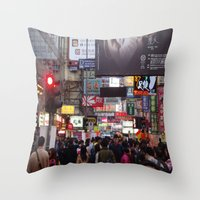 hong kong Throw Pillows featuring Hong Kong  by ENGINEMAN - JOSEPHAMT