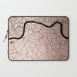 London Rosegold on Black Street Map Laptop Sleeve