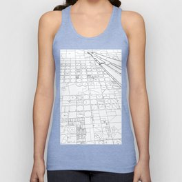 Texas from the Sky - Line Art Unisex Tank Top