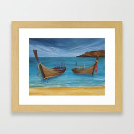 Longtailboats In Turquoise Water Framed Art Print