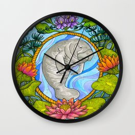 Manatee and Water Lilies Wall Clock