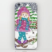ski iPhone & iPod Skins featuring Ski girl by iCraftCafé