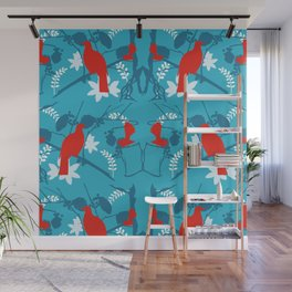 NZ Native Red Kereru (Wood Pigeon) and Fantail on Blue Wall Mural
