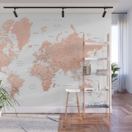 """Rose gold world map with cities, """"Hadi"""" Wall Mural"""