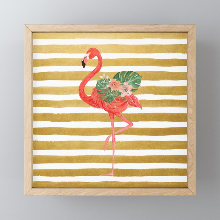 Flamingo Watercolor Art Golden Stripes Framed Mini Art Print