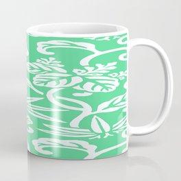 Green Japanese Leaf Pattern Coffee Mug