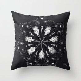 Circle of Brooms Magical Mandala Throw Pillow