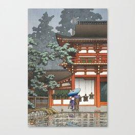 Hasui Kawase, Rain At Kasuga Taisha Shrine In Nara - Vintage Japanese Woodblock Print Art Canvas Print