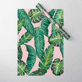 Jungle Leaves, Banana, Monstera II Pink #society6 Wrapping Paper