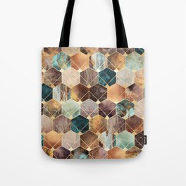 Natural Hexagons And Diamonds Tote Bag