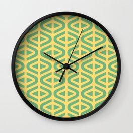 Mid Century Modern Split Triangle Pattern Green and Yellow Wall Clock