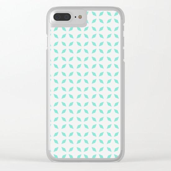 Mint green diamond pattern Clear iPhone Case