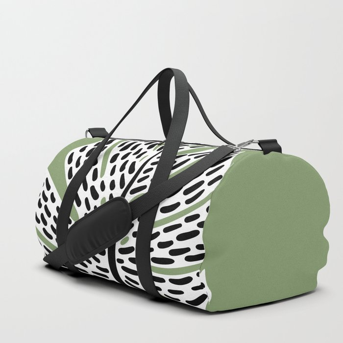 Abstract Monstera Leaf green Duffle Bag