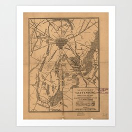 Vintage Map of The Gettysburg Battlefield (1863) 4 Art Print