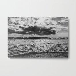 Waves North Sea Noise Denmark Hvide Sande Beach bw Metal Print