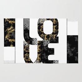 Graphic Art Gold LOVE | black Rug