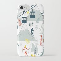 ski iPhone & iPod Cases featuring SKI LIFTS by BLUE VELVET DESIGNS