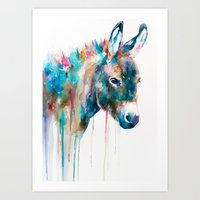 donkey Art Prints featuring Donkey by Slaveika Aladjova