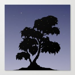 Firefly Tree Sunset with Stars Canvas Print