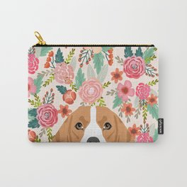 Beagle floral dog breed pet lover dog head with flowers beagles gifts Carry-All Pouch