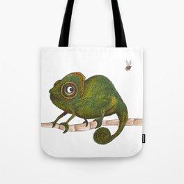 Chameleon vs fly Tote Bag