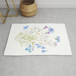 white purple and blue wildflowers  Rug