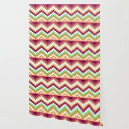 Colorful Wavy Native Aztec Pattern Wallpaper