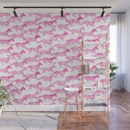 Running Watercolor Horses Pattern - Pink Wall Mural
