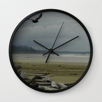 west coast Wall Clocks featuring West Coast by lyneth Morgan