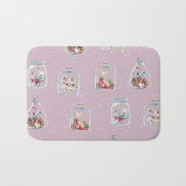 Christmas Pattern Pink Bath Mat