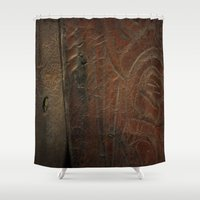 leather Shower Curtains featuring Aged Leather by Dorothy Pinder