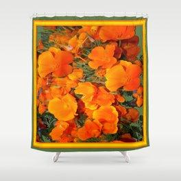 Sage Green Art Golden California Poppies Design Shower Curtain