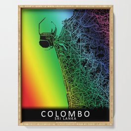 Colombo, Sri Lanka, City, Map, Rainbow, Map, Art, Print Serving Tray