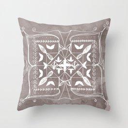 Square Mandala Butterfly Floral Rustic Line Drawing Boho Spirituality Yoga Focus Divine Meditation Throw Pillow