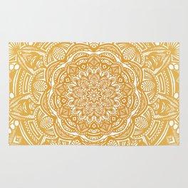 Golden Mustard Yellow Orange Ethnic Mandala Detailed Rug