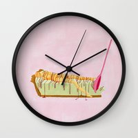 pie Wall Clocks featuring Pink Pie by Nadina Embrey - Artist / Illustrator