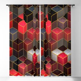 Cubes in Red Blackout Curtain