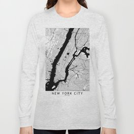 New York City Black and White Map Long Sleeve T-shirt