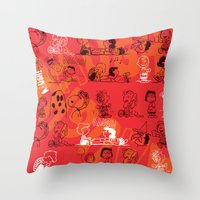 snoopy Throw Pillows featuring SNOOPY AAUGH! by d.ts