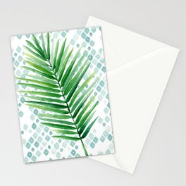 Tropical Palm Frond Watercolor Painting Stationery Cards